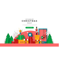 Christmas web sale template papercut toy city vector