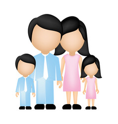 color silhouette faceless family in formal clothes vector image