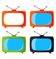 colorful cartoon vintage tv set isolated on white vector image