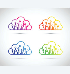 colourful abstract cloud computer chip icon set vector image