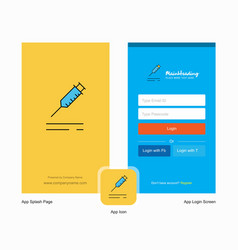 Company injection splash screen and login page vector