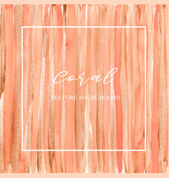 Coral color trendy sea shell watercolor and gold vector