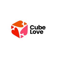 Cube love heart logo icon vector