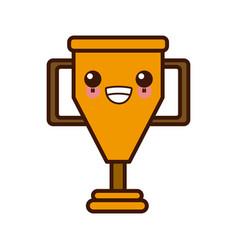 cup trophy symbol kawaii cute cartoon vector image