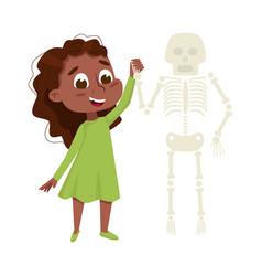 Curious girl examinig skeleton at biology lesson vector