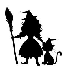 cute halloween witch and cat silhouette vector image