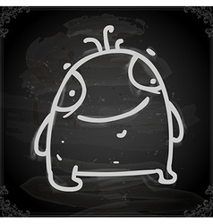 Cute monster drawing on chalk board vector
