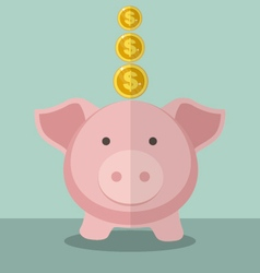 Cute Piggy Bank And Gold Coin With Flat Design vector