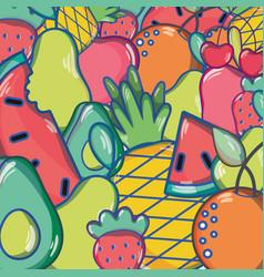 Delicious tropical fruits background design vector