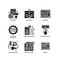 digital marketing icons set 2 vector image