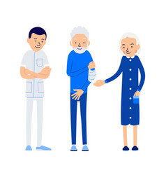 Doctor and patient elderly man holds sore hand vector