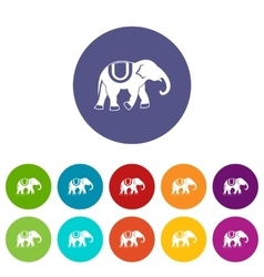 Elephant set icons vector