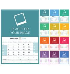 english calendar 2019 vector image