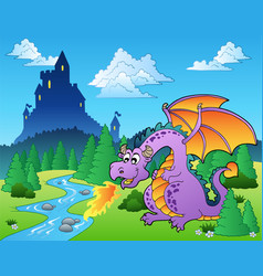 Fairy tale image with dragon 1 vector