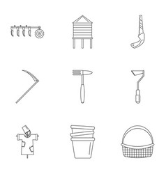 farm icon set outline style vector image
