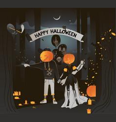flat happy halloween card vector image