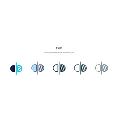 Flip icon in different style two colored and vector