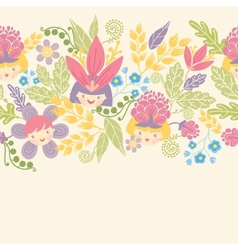 Flower girls horizontal seamless pattern vector image