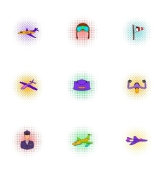 Flying device icons set pop-art style vector image