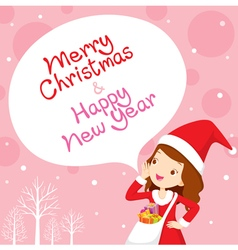 Girl In Santa Costume Shouting Pink Background vector image