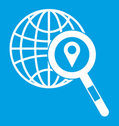 Globe map pointer and magnifying glass vector