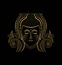 Gold buddha face traditional asian art concept vector