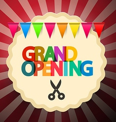 Grand Opening Retro with Scissors and Colorf vector image
