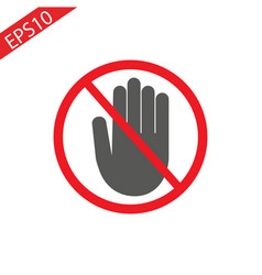 hand blocking sign stop vector image