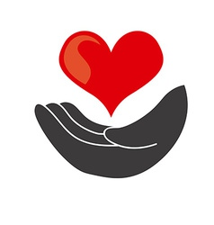 hand heart design vector image