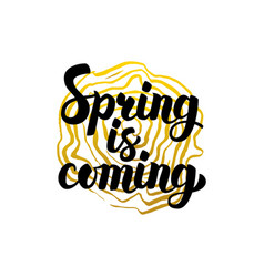 Handwritten calligraphy spring is coming vector