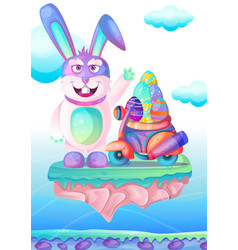 happy easter bunny with colored eggs easter card vector image