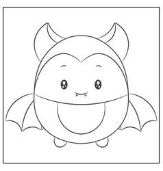happy halloween cute bat sketch for coloring vector image