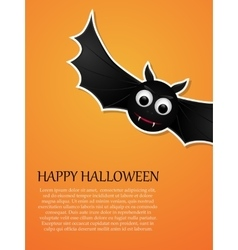 happy halloween orange background with flying bat vector image