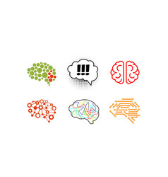 human brain set bright creative idea symbols vector image