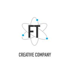 Initial letter ft atom neutron design logo vector