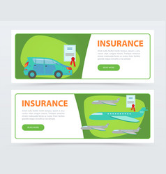 Insurance banners set insurance policy services vector