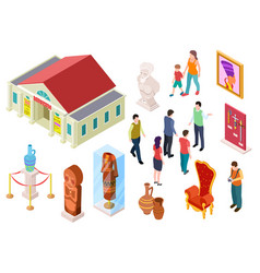 isometric museum art gallery exhibition visitors vector image