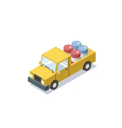 Isometric yellow wagon car with blue barrels vector