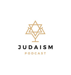 judaism podcast logo icon for jews blog video vector image