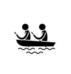 Kayaking black icon sign on isolated vector