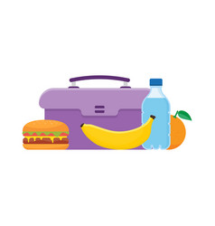 Lunch box to school vector