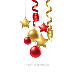 merry christmas card with gold and red balls vector image