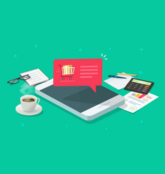 mobile phone on working desktop table and vector image