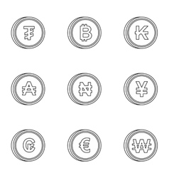 Money of countries icons set outline style vector