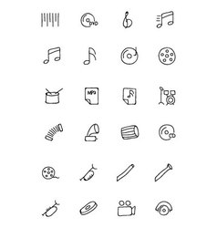 Music Hand Drawn Doodle Icons 2 vector