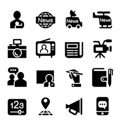 News media journal icons set vector