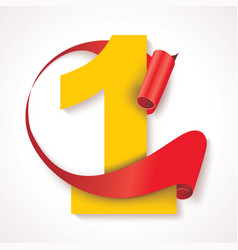 number one yellow numeric with red rolled ribbon vector image