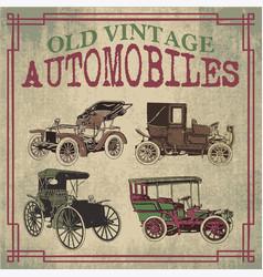 Old vintage automobiles designs vector