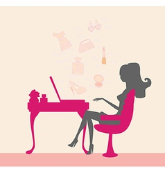 Online shopping - woman silhouette sitting with vector image