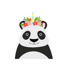 Panda bear wearing a wreath of flowers cute vector